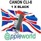 1 Canon CLI-8 BLACK Chipped Compatible Ink Cartridge