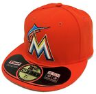 NEW ERA 59Fifty MLB OnField Miami Marlins Orange Fitted Cap White 3D