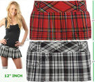 "LADIES WOMENS SEXY 12"" MICRO MINI HIPSTER TRATAN FULL PLEATED SKIRTS SHORT KILT"