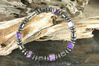 Unisex Purple Agate Stones Magnetic Hematite Bracelet Necklace Handmade in USA