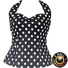 Black 50s Polka Dot Halter Top Rockabilly Vintage Retro Pin Up