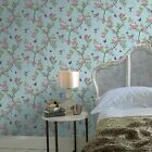 'chinoiserie' Floral Bird Wallpaper In Duck Egg/blue Pink From V&a Collection