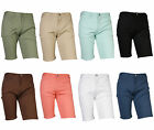 Mens stretch cotton blend casual basic flat front slim fit chinos pants shorts