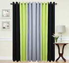 Eyelet curtains Ring Top Fully Lined Pair Ready made 3 Tone Lime Green