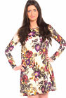 WOMENS SUMMER FLORAL AZTEC ANIMAL CHECK PRINT SWING FLARED DRESS UK SIZE 8-20