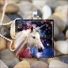 """DREAM OF THE UNICORN"" MAGIC HORSE FANTASY GLASS TILE PENDANT NECKLACE KEYRING"