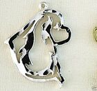 Cavalier Spaniel Dog Head Large Necklace w/Charm Jewelry ~ .925 Sterling Silver