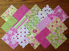 PINK/GREEN ~ FABRIC PATCHWORK SQUARES PIECES CHARM PACK 100% COTTON