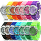 Crystal Bezel Geneva Silicone Bling Rhinestone Rubber Fashion Jelly Watch Gifts