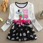 PI Girls Kids Baby Peppa Pig Bow Flower Heart Tulle Skirt Dress 1-6Y Clothes
