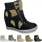 NEW UK WOMENS WEDGE TRAINERS LADIES HIGH ANKLE HI TOP CELEBRITY SHOES BOOTS SIZE