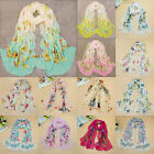 Women Lady Chiffon Scarf Flower/Butterfly Print Various Pattern Wrap Stole Shawl