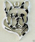 French Bulldog Dog Head Outline Small Pierced Earrings - .925 Sterling Silver