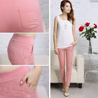 Women Girls Korean Casual Lace Slim Pencil Pants Stretch Tight Trousers Capris