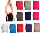 NEW WOMENS LADIES FITTED BODYCON MINI STRETCH SKIRT SHORT LENGTH ZIP BACK RIBBED