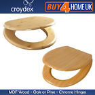 MDF Wooden Toilet Seats - Oak and Pine Wood Effect with Chrome Hinges