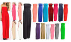 New Womens Ladies PLAIN SHEERING BOOB TUBE MAXI DRESS