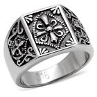 Men's Antique Tone Stainless Steel Coat of Arms Cross Ring Size 8 - 13