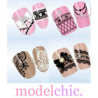 Water Transfer Nail Art Sticker Decal Black White Lace French Tip Floral