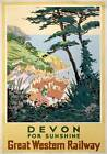 Devon for Sunshine. Vintage Great Western Railway Travel Poster art by S I Veale
