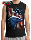 AMERICAN ICON Eagle w/ Flag Sleeveless Muscle T Shirt ~ USA Pride ~ Military Vet image