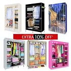 DOUBLE TRIPLE CANVAS WARDROBE WITH HANGING RAIL CLOTHES STORAGE HOME FURNITURE