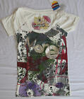 Ladies DESIGUAL Short Sleeve Top / T-Shirt Cream Style is MORE Size M & L BNWT