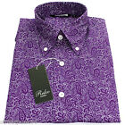 Relco Mens Purple White Paisley Long Sleeved Shirt Mod Skin Retro Indie 60s 70s