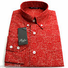 Relco Mens Red Cream Paisley Long Sleeved Shirt Mod Skin Retro Indie 60s 70s