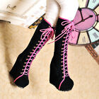 Roman Awesome Goth Super Platform Wedge Heels Faux Suede Lace Up Knee High Boots
