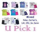 GIRLS SHIRT SHORTS OUTFIT UNDER ARMOUR NIKE CARTERS ATHLETIC CHILDRENS CLOTHES