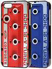 Black Iphone 4/4S case Cosworth rocker cover design in RED or BLUE