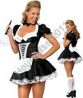 Sexy Satin French Maid Adult Uniform Fancy Dress Costume Hen Party Ladies Outfit