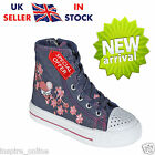 BRAND NEW GIRLS KIDS FLAT CASUAL HI TOP ZIP PUMPS PLIMSOLLS TRAINERS SHOES SIZE