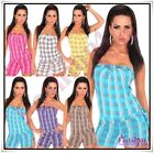 Sexy Women's Checked Playsuit Ladies Summer Casual Jumpsuit One Size 8,10,12 UK