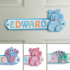Personalised Wooden Letters Name Plaque Door Sign - BLUE BEAR