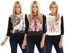 Ladies Printed Top Chiffon Floral Short Sleeve Womens Black Casual Blouse