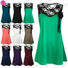 Womens Sleeveless Ladies Flower Corsage Broach Lace Insert Mini Smock Dress Top