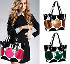 New Womens Shiny Faux Leather Color Stitching Handbags Party Shoulder Bag Totes