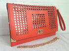 NEW ORANGE CLUTCH BAG ENVELOPE EVENING DAY WEDDING BRIDESMAID PARTY FAUX LEATHER