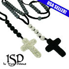 """Stainless Steel 8mm Rosary Necklace Hematite Beads Crystal Cross 24"""" - 32"""" + 4"""""""
