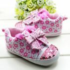 Toddler Baby Girls Pink Bow Sequin Soft Sole Crib Sneaker Shoes Size 0-18 Months