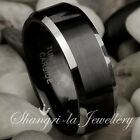 COOL BLACK MENS TUNGSTEN CARBIDE WEDDING BAND RING 8MM WIDE JS01R SOLID ALL SIZE