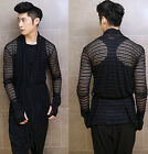 Men's Personalized Draped Wig Pattern Hollow-out Mesh Cape T-shirt Jacket Coat