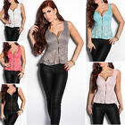 Women's Sleeveless Lace Peplum Top Blouse Top Shirt - S/M