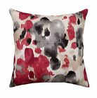 Red and Grey Watercolor Floral Decorative Throw Pillow - Landsmeer Currant