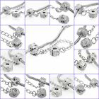 Silver Safety Chain Clip Lock Stopper Clasp Beads Fit Charm Bracelets Murano DIY