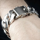25mm Mens Curb Link Heavy Bracelet  - Big Chunky & Bold ! 8 oz +