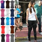 Womens Ladies Polo Turtle High Neck Sleeveless Plain Bodycon Vest T Shirt Top