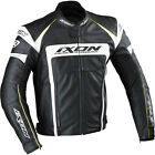 Ixon Fueller Waterproof Leather Motorcycle Jacket CE Armour Black / White - T